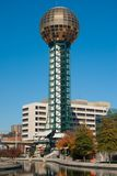 Worlds Fair park. In Knoxville Tennessee showing the Sunsphere, bridge and water feature at the center of the park stock photos