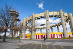 1964 Worlds Fair Relics. FLUSHING QUEENS - FEB 17: Historic New York City 1964 Worlds Fair structures seen on February 17, 2012 in NYC. These landmark relics are royalty free stock image