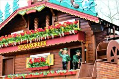 The Worlds Largest Cuckoo Clock. Sugarcreek, OH / United States - May 19 2018: Sugarcreek Ohio is home to the worlds largest cuckoo clock which is also fully Royalty Free Stock Photos