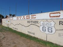 Worlds Largest Map of Route 66. A mural in Holbrook Arizona that is also the world`s largest map of route 66 stock images