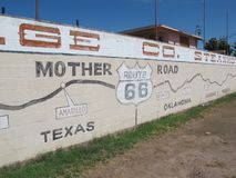 Worlds Largest Map of Route 66. A mural in Holbrook Arizona that is also the world`s largest map of route 66 stock image