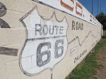 Worlds Largest Map of Route 66. A mural in Holbrook Arizona that is also the world`s largest map of route 66 stock photography