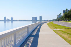 Worlds longest continuous sidewalk Bayshore Blvd. This is the worlds longest continuous sidewalk, Bayshore Blvd. in Tampa, Florida. It runs along Tampa bay and stock photos