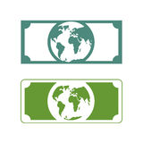 Worlds money. Banknotes with planet Earth. Future of cash with p Stock Image