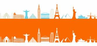 Worlds most famous landmarks royalty free illustration