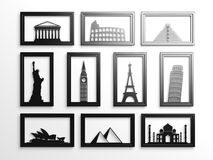 Worlds most famous landmarks in frames Stock Photo