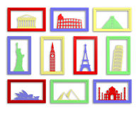 Worlds most famous landmarks in frames. Colorful collection of worlds most famous landmarks in frames Stock Photos