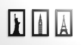 Worlds most famous landmarks in frames isolated Royalty Free Stock Image