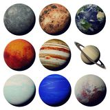 The planets of the solar system isolated on white background 3d space rendering, elements of this image are furnished by NASA. Worlds of the solar system set stock photography