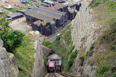Worlds steepest railway. Hastings cable car cliff lift on the east hill The East Lift in Hastings opened for service in 1902 Royalty Free Stock Image