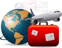 Worldwide airplane travel vector illustration