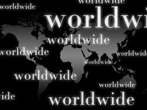 Worldwide Background. An illustrated background with a worldmap with caption 'worldwide Stock Images