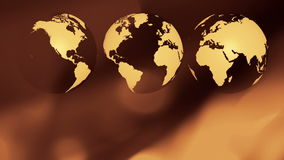Worldwide business three world globes background. Rotating world globe abstract motion background stock video