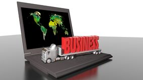 Worldwide business with truck and computer Royalty Free Stock Photo