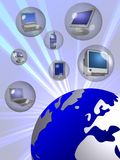 Worldwide Communication. An illustrated background showing different communication devices with the design of blue earth, showing global connectivity Stock Photo