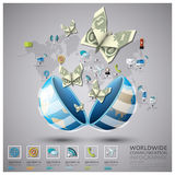 Worldwide Communication And Connection Spending Business Infogra Royalty Free Stock Photos