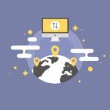 Worldwide communication flat icon illustration. Worldwide communication via the internet, global place connection, technology navigation service. Flat icon Royalty Free Stock Photos