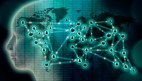 Free Worldwide Communication Network Illustration. Social Media, Digital Technology, Globalization, Data Transfer, AI, International Stock Photography - 158563972