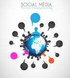 Worldwide communication and social media concept art. Royalty Free Stock Photography