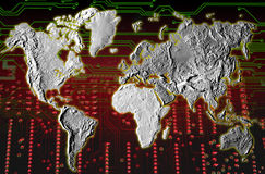 HIGH TECH TECHNOLOGY INDUSTRY WORLD MAP BACKGROUND  Royalty Free Stock Photos