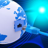Worldwide Connection Represents Lan Network And Computer Stock Photo