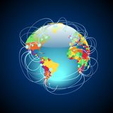 Worldwide connections colorful. Worldwide connections concept. Globe with detailed multicolored countries, data threads over the planet. Vector illustration