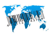 Worldwide consumerism. Blue outline map of world with barcode Royalty Free Stock Photos