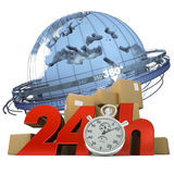 Worldwide delivery in 24 Hrs. 3D rendering of the Earth a pile of boxes and the words 24Hrs and a chronometer Stock Image