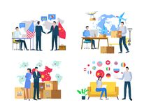 Import or Export, Delivery of Goods, World Vector. Worldwide delivery of boxes, man and woman workers in office with laptop and goods, transportation in China vector illustration
