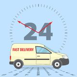 Worldwide delivery concept. Fast delivery app icon. Delivery 24 hours a day, 7 days a week. The yellow car for delivery. Stock vector stock illustration