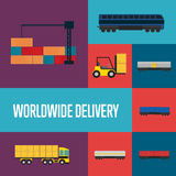 Worldwide delivery icon set Stock Image