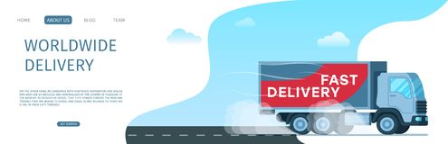 Worldwide Delivery Storage Cargo Truck on Road royalty free illustration
