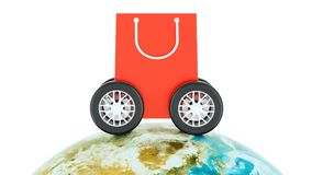 Worldwide e-shopping, online shopping and fast delivery concept. 3D rendering