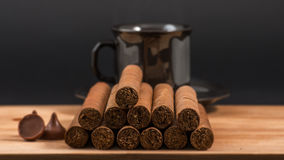 Worldwide famous hand rolled Cuban cigars Stock Photo