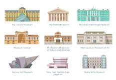 Most Famous Museums in Whole World Illustration. Worldwide famous museums of nature and science, art and history collection. Gorgeous ancient and modern Royalty Free Stock Photo