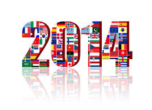 Worldwide Flags with 2014 Royalty Free Stock Photo