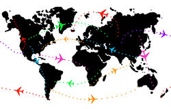 Worldwide flights. Airplanes connecting different places in the world Stock Photos