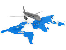 Worldwide Flights Means Web Site And Aeroplane Royalty Free Stock Image