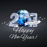 2017 Worldwide greeting card. Greetings and 2017 New Year type composed with a blue planet earth, on a glittering black background - 3D illustration Stock Image