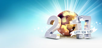 2017 Worldwide greeting card. Greetings and 2017 New Year type composed with a golden planet earth, on a shiny blue background - 3D illustration royalty free illustration