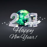 2017 Worldwide greeting card. Greetings and 2017 New Year type composed with a green planet earth, on a glittering black background - 3D illustration stock illustration