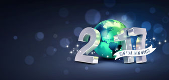 2017 Worldwide greeting card. Greetings and 2017 New Year type composed with a green planet earth, on a glittering black background - 3D illustration Royalty Free Stock Photos