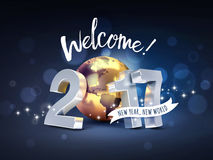 2017 Worldwide greeting card. Greeting and 2017 New Year type composed with a golden planet earth, on a sparkling black background - 3D illustration Stock Photo