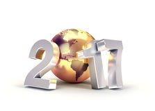 2017 Worldwide greeting symbol. 2017 New Year type composed with a golden planet earth, isolated on white - 3D illustration Stock Images