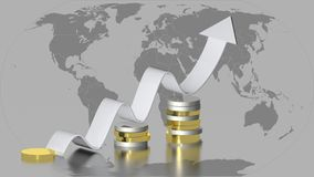 Worldwide Growth in finance. Some coins and an up-side trend arrow on a bakground fully gray world map Royalty Free Stock Photography