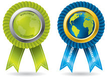 Worldwide guarantee badges. Worldwide guarantee set of badges for many products Royalty Free Stock Image