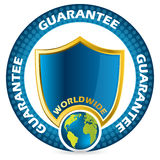 Worldwide guarantee icon design. In blue and gold colors Stock Image