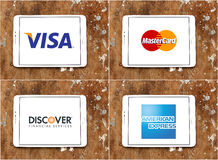 Worldwide money transfer methods logos  visa , mastercard , discover , american express Stock Photo