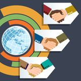 Worldwide multiethnic business handshakes Stock Images