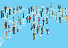 Worldwide network. Business men and women standing on map of world networked with white grid Stock Images
